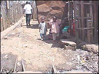 Children on a street in Kibera