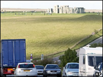 A busy road in front of Stonehenge