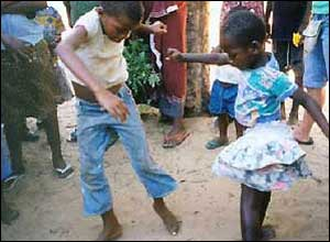 Orphans dancing in Mozambique