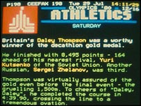 Daley Thompson's gold captured on Ceefax