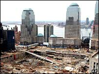 Ground Zero, the site of the Twin Towers