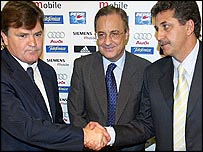 From left: Outgoing Real Madrid coach Jose Antonio Camacho, president Florentino Perez and new coach Mariano Garcia Remon