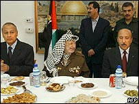 Egyptian Foreign Minister Ahmed Abul Gheit, Palestinian leader Yasser Arafat and Egyptian intelligence services chief Omar Suleiman