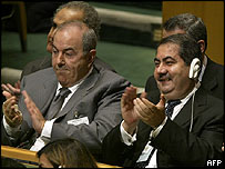 Iyad Allawi (left) with Iraq's foreign minister at the UN General Assembly