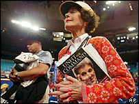 A woman clasps Unfit for Command at the Republican Convention