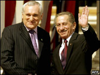 Irish Prime Minister Bertie Ahern (L) greets Cypriot President Tassos Papadopoulos 
