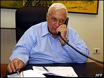 Ariel Sharon in his Jerusalem office