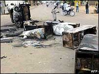 Street debris after anti-Christian riots in Kano in May 2004