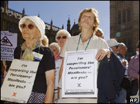 British pensioners demonstrate outside the House of Commons