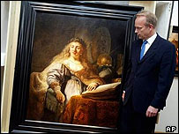 Art dealer Verner Aamell with Rembrandt's Minerva In Her Study