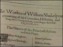 The index page of the rare Shakespeare First Folio