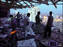 Scene of attack on Gaza radio station