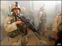 US troops in a house in Baghdad