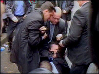 Mr Yanukovych after being hit, allegedly by an egg