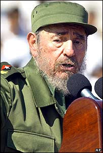 Fidel Castro delivering his 2004 May Day speech