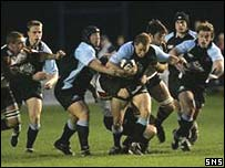 Dan Parks on the charge for Glasgow