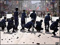 Police counter a protest on 1 May in Kathmandu