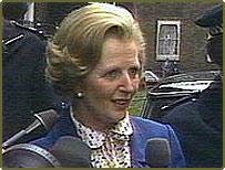 Margaret Thatcher arrives at Downing Street