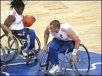 Ade Adepitan scored vital late free throws for Britain