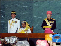 Brunei's Sultan Hassanal Bolkiah (centre) at the opening of the Legislative Council