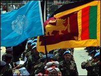 UN and Sri Lankan flags during the ceremony