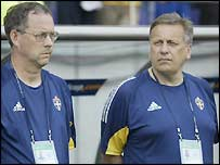 Sweden coaches Lars Lagerback and Tommy Soderberg
