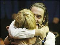 Ronnie O'Sullivan celebrates with his mother after his World Championship victory
