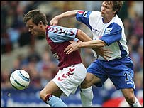 Lee Hendrie (left) was booked for his celebrations