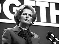 Margaret Thatcher at the Brighton Tory conference in 1980