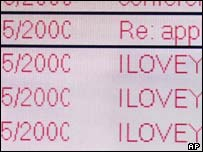 Loveletter virus in e-mail inbox, Ap