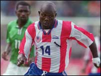 Liberia's George Weah in action