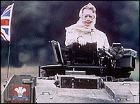 Margaret Thatcher in a tank