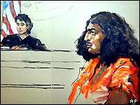 Court drawing of Richard Reid