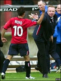 Novo shows his solidarity with manager Alex McLeish