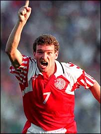 John Jensen scored Denmark's opening goal of their 2-0 win over Germany in the final