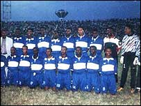 Somali national team in Uganda (Abdullahi is sixth from the left at the back)
