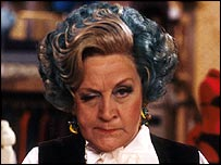 Mrs Slocombe, from BBC sitcom Are You Being Served, pulls an angry face