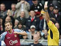 Aston Villa's Lee Hendrie is booked