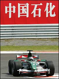 The Jaguar of Christian Klien at the Chinese Grand Prix
