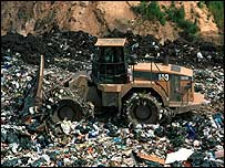 Tractor at a landfill site