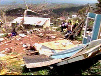 The remains of a house damaged by a hurricane in Grenada