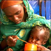Mother and child at a TFC in Kalma camp, Darfur, Sudan