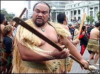 Maori taking part in the hikoi, or protest walk, arrive at the parliament in Wellington,  5/5/2004