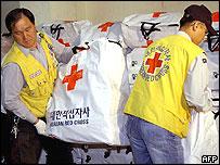 South Korean Red Cross volunteers prepare aid supply kits in Seoul, 25 April 2004,
