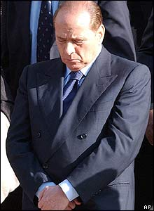Silvio Berlusconi at funeral of Italian servicemen killed in Iraq