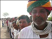 Queue to vote at Guda Bishnoi two hours before polls opened