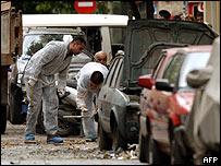 Investigators at blast scene