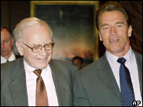 Warren Buffet (left) and Arnold Schwarzenegger (right)