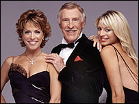 Natasha Kaplinsky (l), Bruce Forsyth and Tess Daly, Strictly Come Dancing