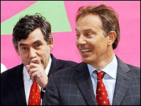 Gordon Brown y Tony Blair.